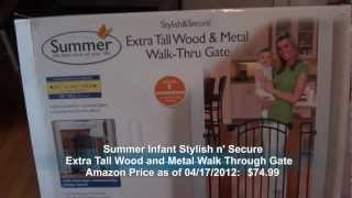Summer Infant Stylish N' Secure Extra Tall Wood And Metal Walk Through Pet/baby Gate
