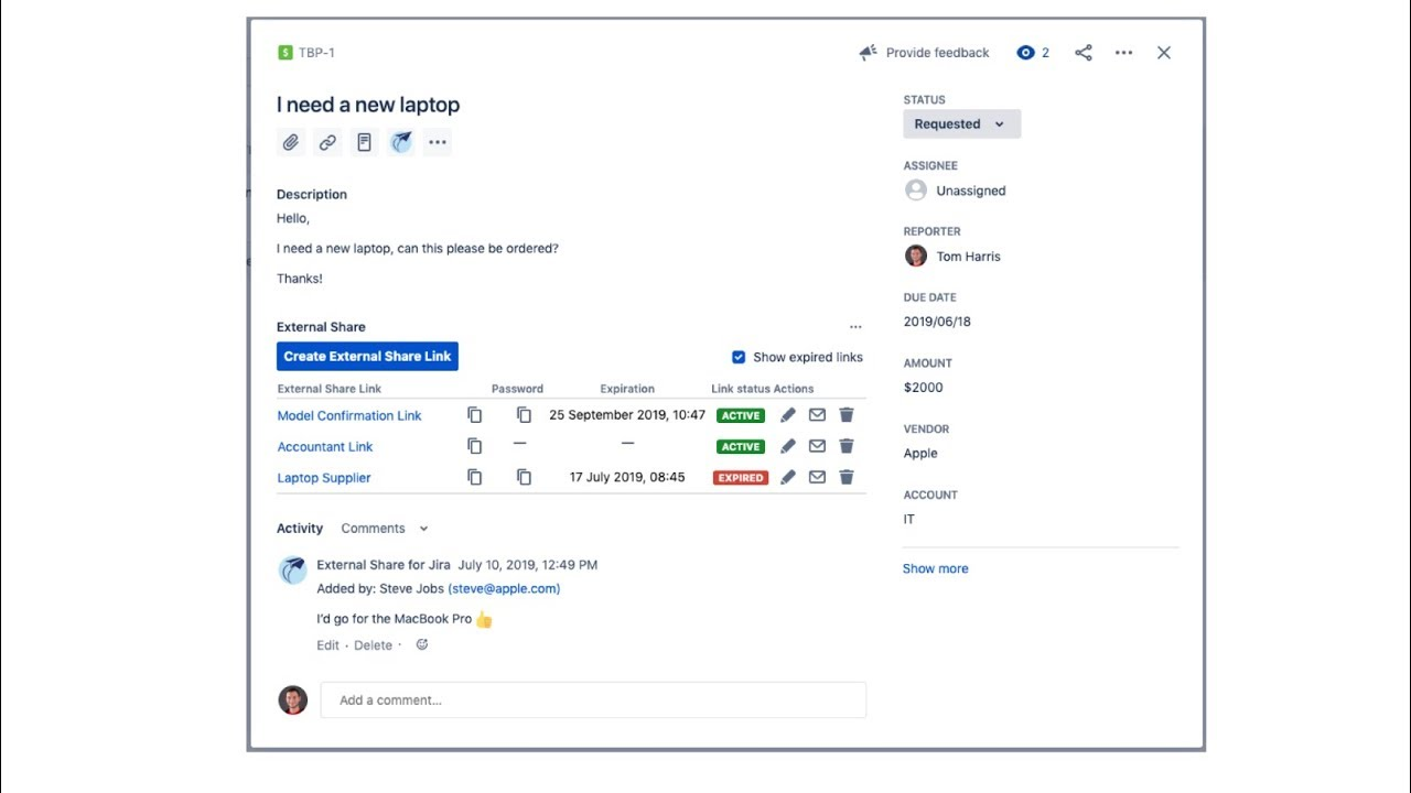 External Share for Jira screen share demo