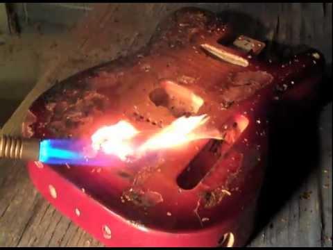 sunburst flame maple guitar refinish repair paint finish nitro lacquer les paul tele strat youtube. Black Bedroom Furniture Sets. Home Design Ideas