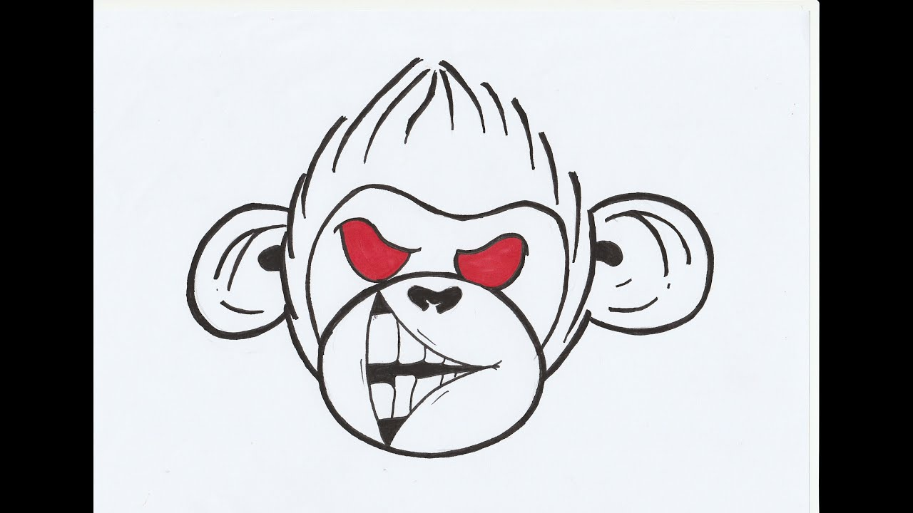 How To Draw Monkey Graffiti Character Tutorial Youtube