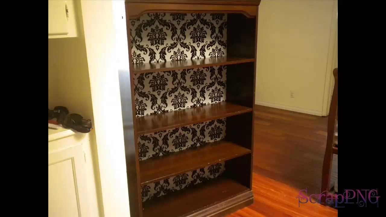 How To DIY Bookshelf Upcycle Redo Back Panel