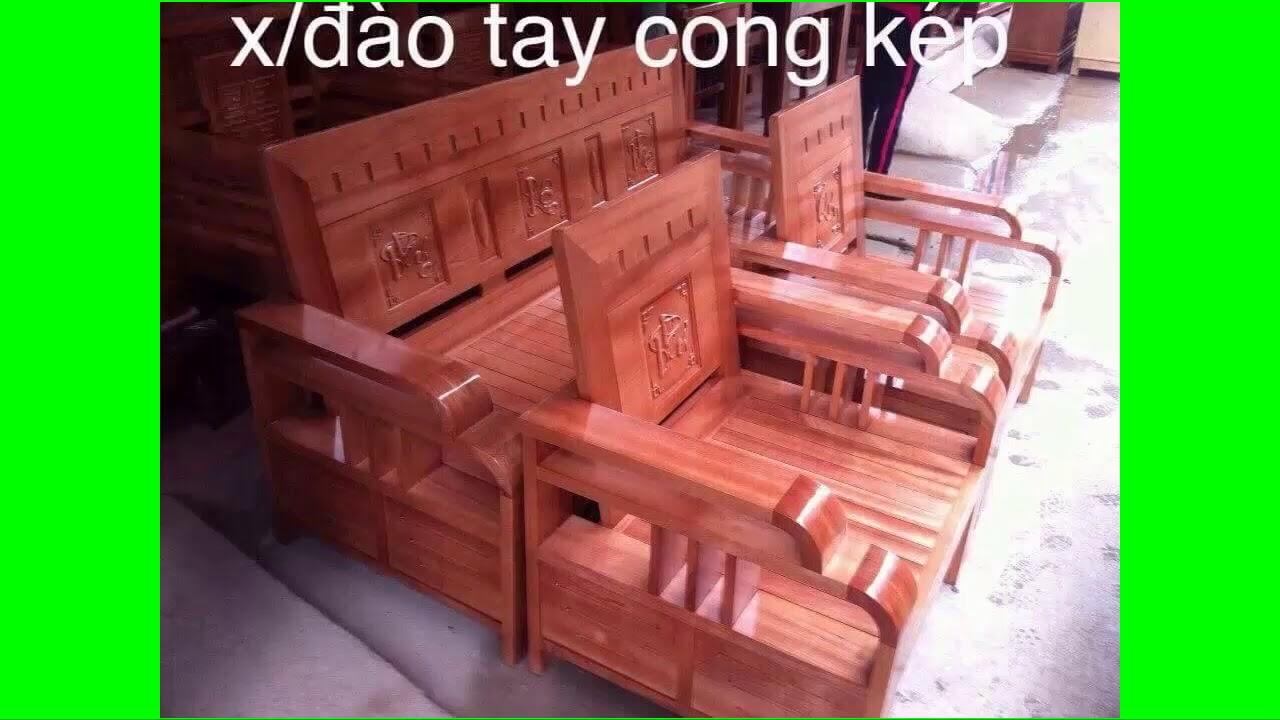 bàn ghế gỗ phòng khách hoàng anh gia lai