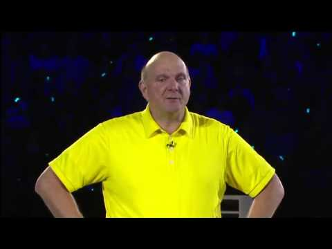 Steve Ballmer crying on stage during his last speech at Microsoft