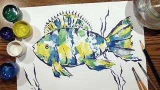 Speed Painting | Fish #1 | Technique Monotype | Gouache | IOTN
