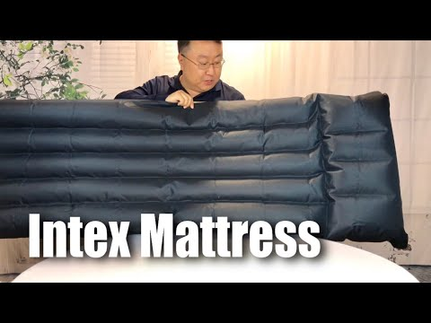 Intex Inflatable Fabric Camping Air Mattress With Built In Pillow