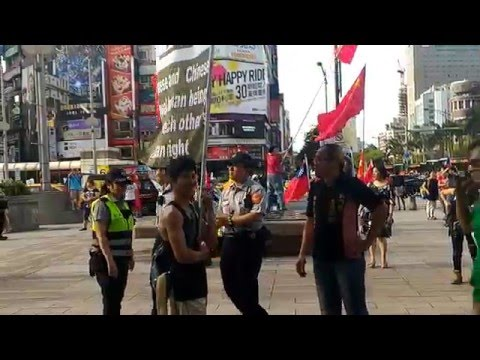 Pro China vs. Taiwan independence in Ximending 中華愛國同心會 西門町 張秀葉 一國兩制演講會