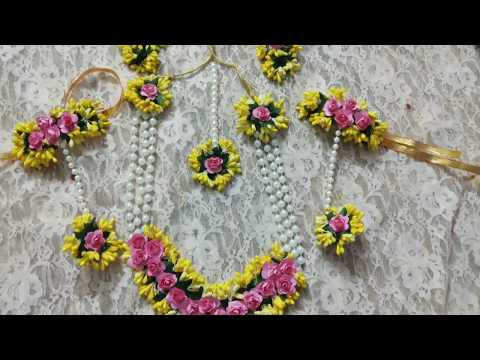 D. I. Y how to make flower jewelry for haldi, mehndi and baby shower 2019