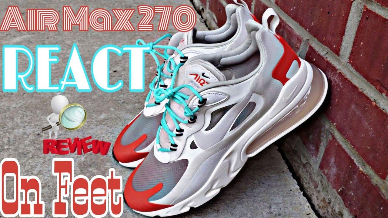 Nike Air Max 270 React LT BEIGE CHALKPLATINUM TINT + on feet AT6174 200
