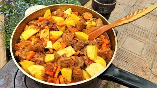 Жаркое рецепт по нашему с мясом и картошкой Готовит Никита Сергеевич