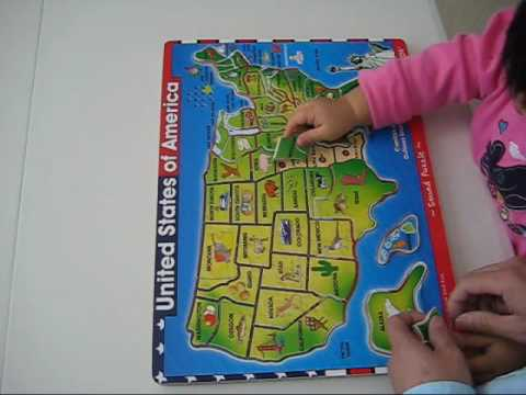 Angelina's USA map sound puzzle @ one and a half year old.   YouTube