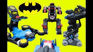 Imaginext Batman Robot Battle ! Transforming Batbot Vs Transforming Batmobile R/C ! Superhero Toys