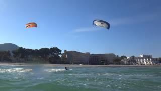 austrian girl kitesurfing lessons Mallorca in March www edmkpollensa com wind in Alcudia
