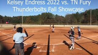Kelsey Endress (2022 pitcher) 2019 fall Thunderbolts Showcase game film