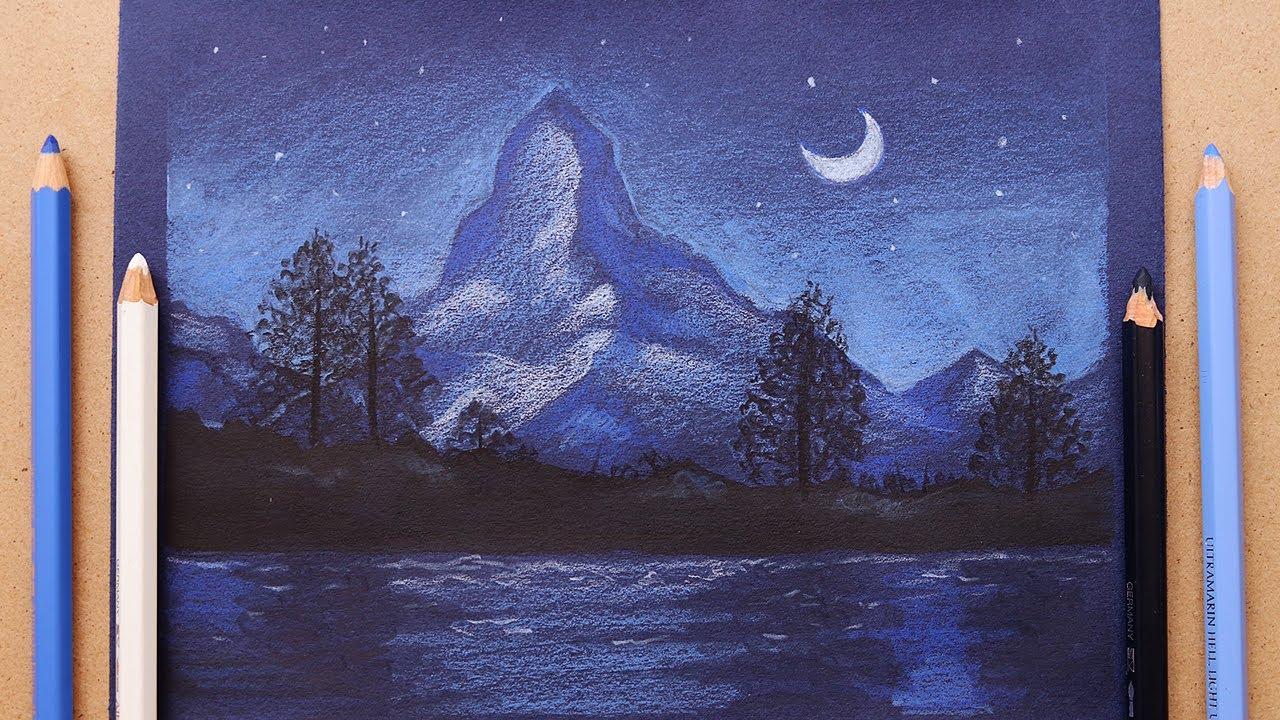 تعليم الرسم : كيف ترسم منظر طبيعي ليلي بسيط بالوان الخشب