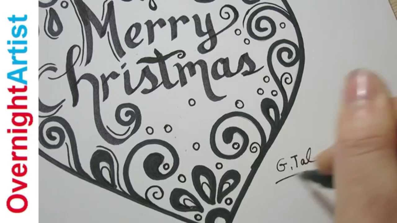 Christmas Calligraphy.Christmas Gift Ideas Write Merry Christmas Calligraphy In A Heart Swirls And Curls
