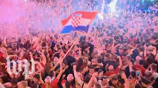 Croatia advanced to its first-ever World Cup final. Watch how fans celebrated.