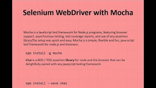 A Small Overview on Selenium-Mocha-Chai