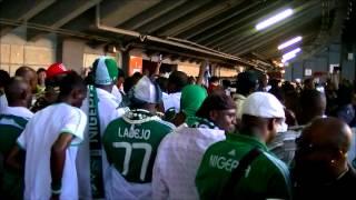 Japan VS Nigeria.試合終了後にコンコースに出てきたナイジェリアサポの...