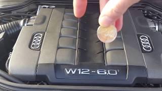 AUDI A8 W12 2000 RPN MOTOR TEST ,  ENGINE TEST , TEST MONETY , TEST MÜNZEN , COIN TEST