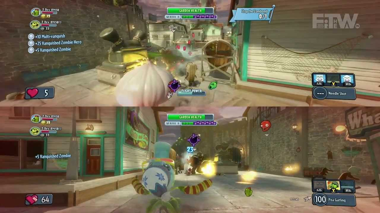 Plants Vs Zombies Garden Warfare Split Screen Gameplay And Boss Mode On Xbox One Youtube