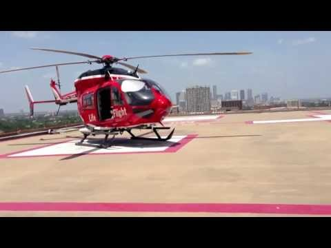 Memorial Hermann Life Flight returning to Heliport from filling up with gas