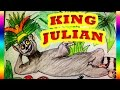 Cartoon drawing for Kids THE KING JULIAN thinking to be  King of the world.