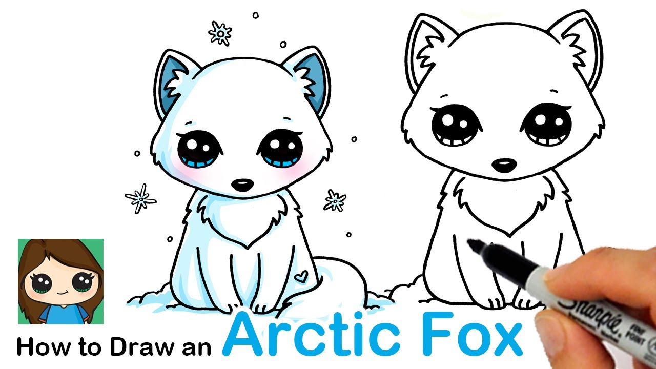 How To Draw An Arctic Fox Easy Youtube