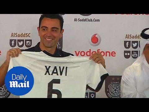 separation shoes 00916 4b9c7 Xavi officially unveiled with Qatari club Al Sadd - Daily Mail