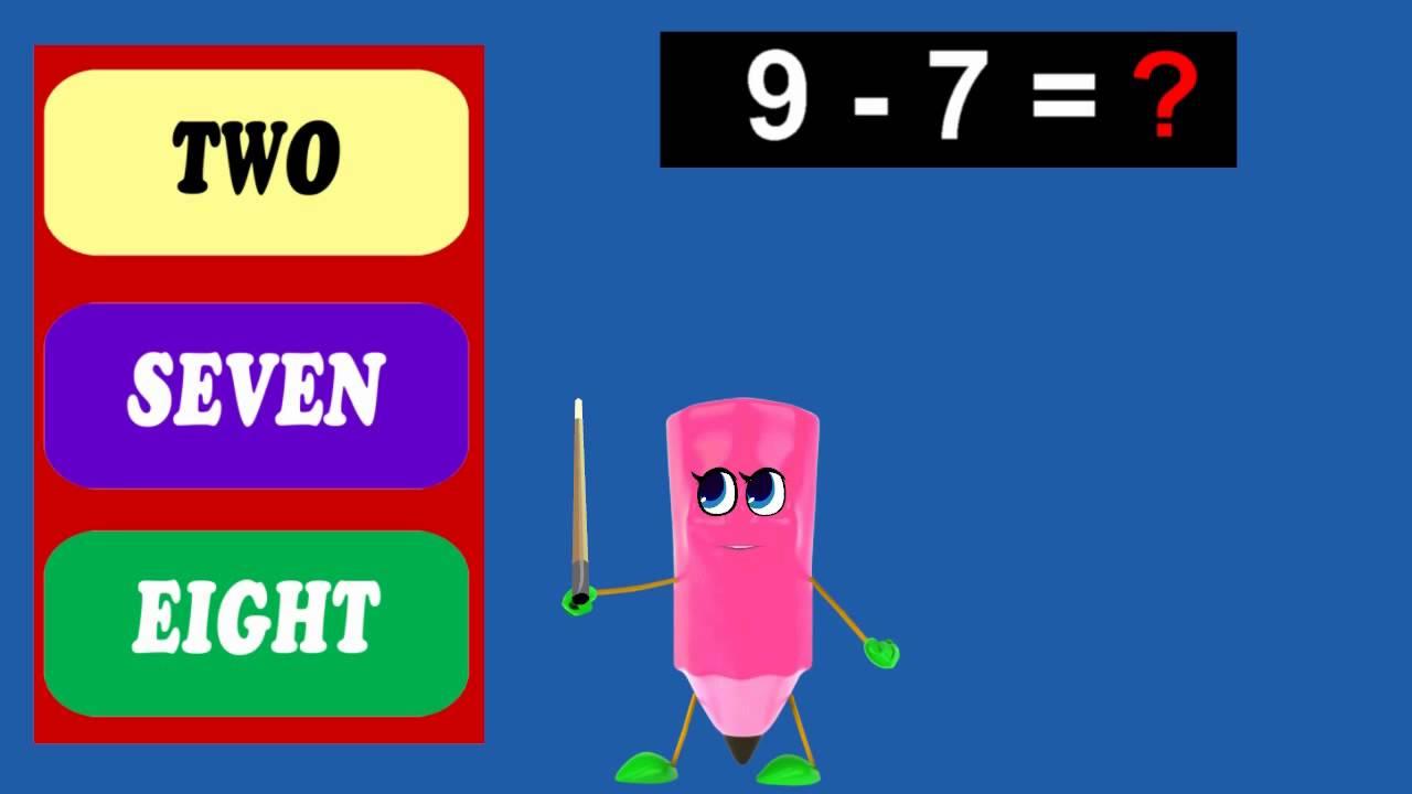 Intractive Math Quiz | How To Subtract 7 - 6 to 10 | Kids HomeSchool ...
