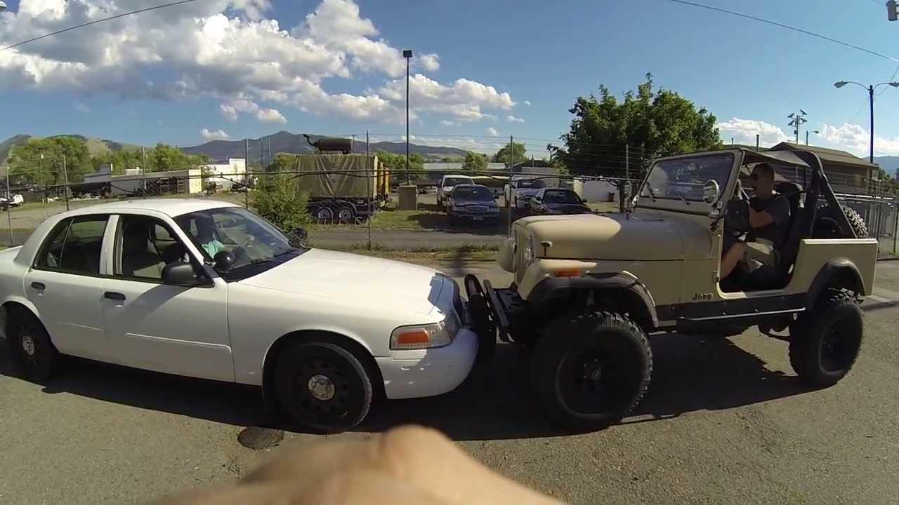 Jeep Vs Cop Car Push Battle Cj7 Burned Clutch Lol