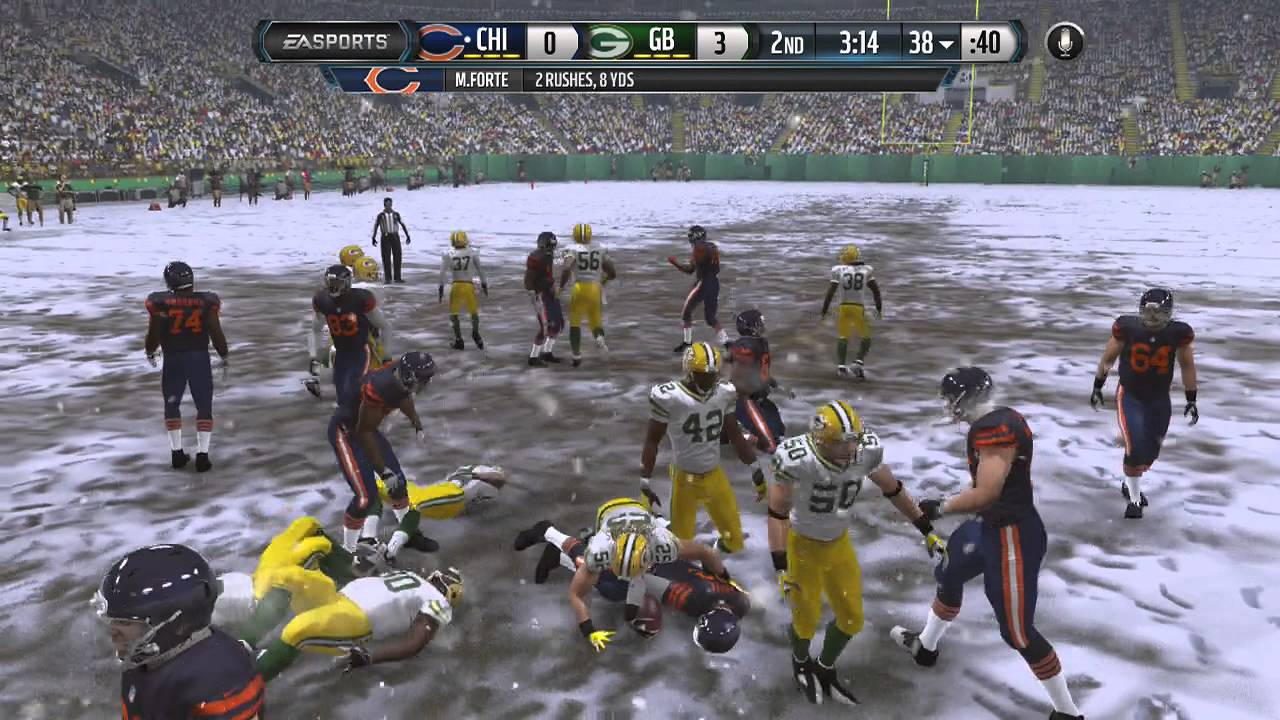 Madden 15 gameplay xbox one packers vs bears snow game 1st half