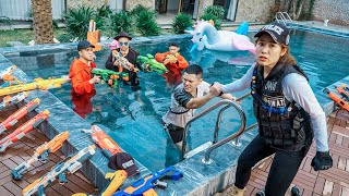 LTT Nerf War : SEAL X Warriors Nerf Guns Go Swimming Fight Dr Ken Crazy Trespassing Lyly Villa