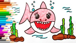Как нарисовать МАМУ АКУЛЕНКА  Мультик раскраска Baby Shark  Нарисуй Ка
