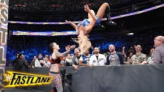 Charlotte Flair hits a vicious moonsault on Ruby Riott from atop the barrier: WWE Fastlane 2018