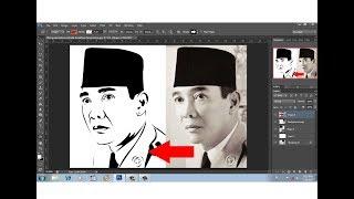 tutorial photoshop cara mudah membuat line art poto