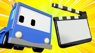 Tiny Trucks - Filming a movie - Kids Animation with Street Vehicles Bulldozer, Excavator & Crane