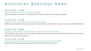 Business News Headlines for 20 Jul 2019 - 6 PM Edition