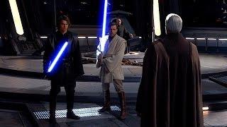 Obi Wan & Anakin vs. Count Dooku but everytime their lightsabers clash Han Solo says Tasu Leech