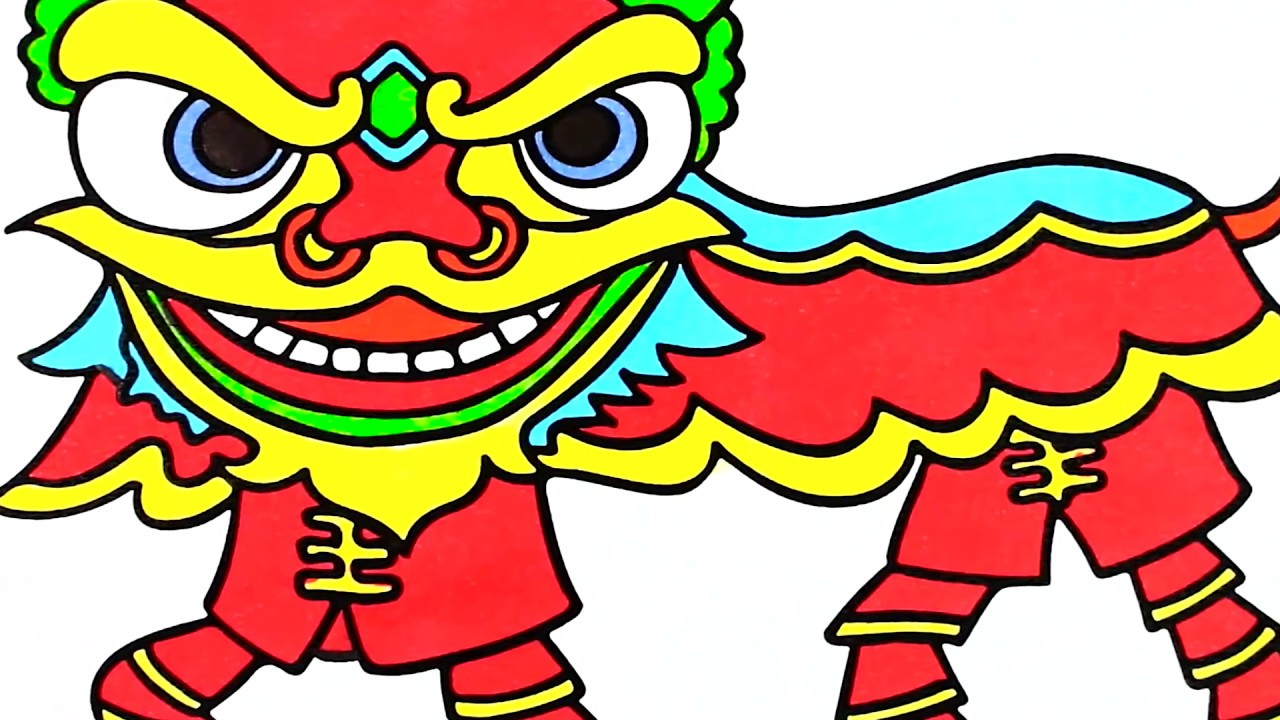 How To Draw Lion Dance Coloring Pages For Kids Learn Colors With Cloudy Art Youtube
