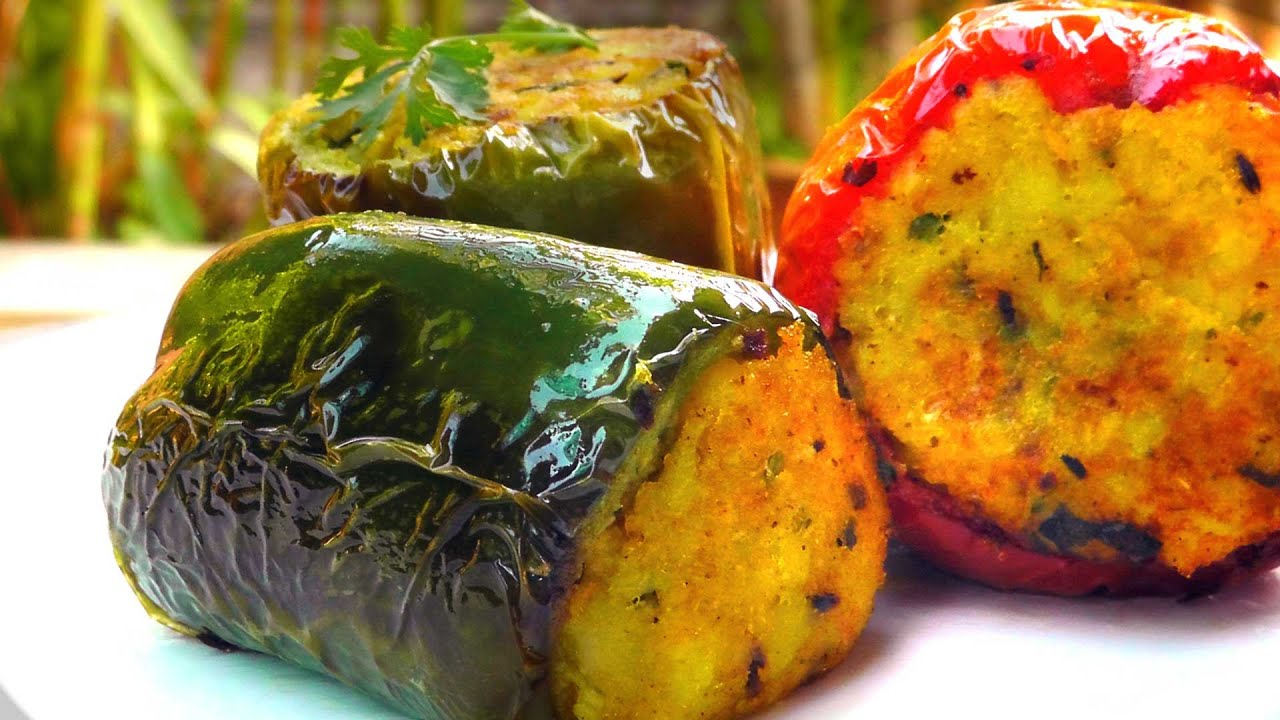 Indian stuffed bell peppers vegan vegetarian recipe youtube forumfinder Images