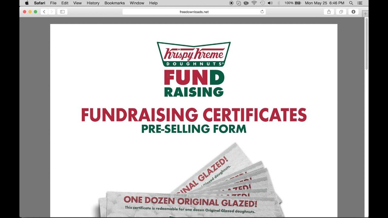 fill in a krispy kreme fundraising gift certificate form youtube