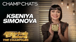 Kseniya Simonova Thanks Terry Crews For his GOLDEN BUZZER! - America's Got Talent: The Champions