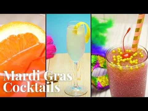 Easy to Make MARDI GRAS Cocktails — Purple Hurricane, The Mardi Gras, & French 75