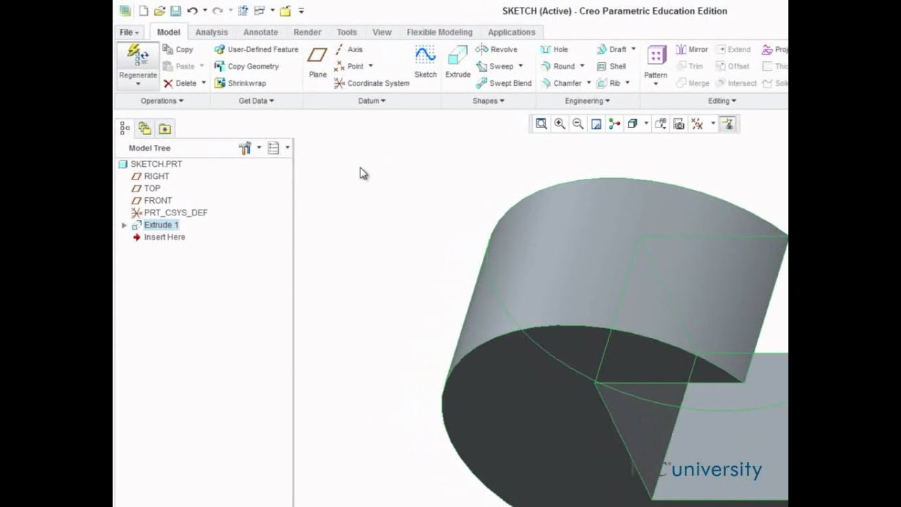 modelling your first part in creo parametric 2 0 youtube rh youtube com Creo Parametric 2.0 Student Edition Creo Parametric 2.0 Student Edition