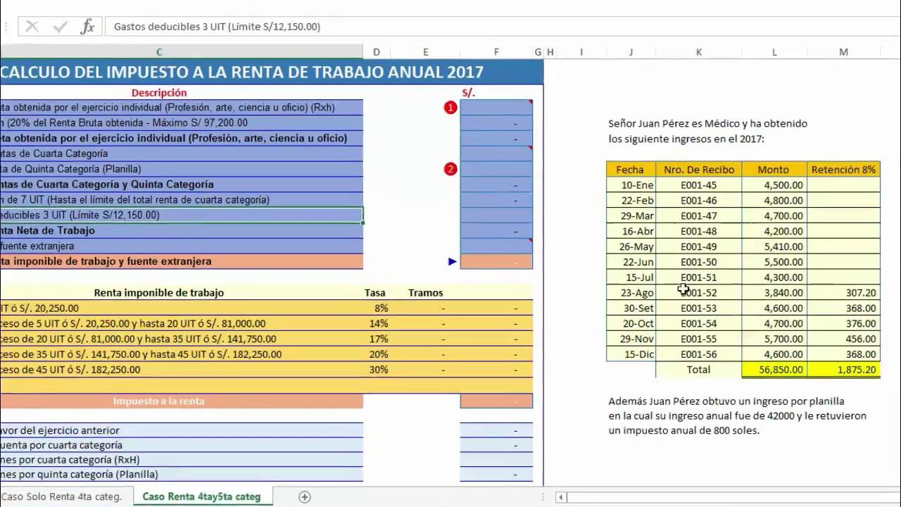 Renta anual de renta de Cuarta y Quinta Categoría 2017 Sunat ¿Cómo ...