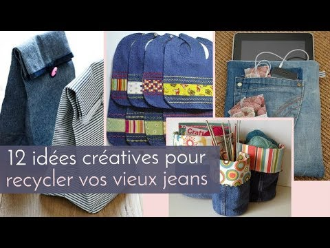 12 id es cr atives pour recycler vos vieux jeans youtube. Black Bedroom Furniture Sets. Home Design Ideas