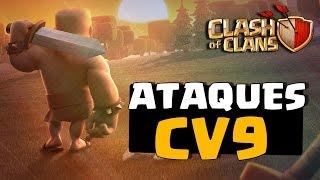 NOVOS ATAQUES DE CV9!!! ATAQUES TERRESTRES SEM GOLEM E SEM MAGO | CLASH OF CLANS