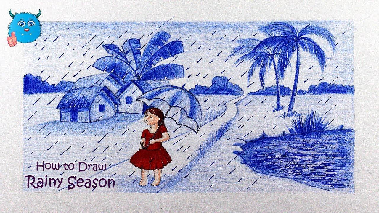 How to draw scenery of village rainy season drawing with colored pencil