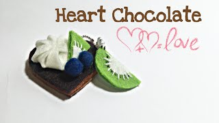 HEART CHOCOLATE FELT CAKE TUTORIAL | FELT SWEETS CAKE