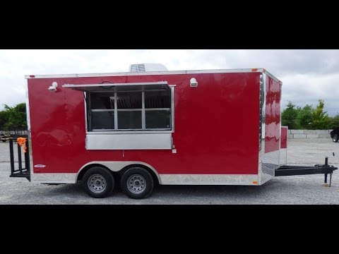 Red 8.5 x 16 Concession Trailer with Appliances - Catering Event Food Trailer